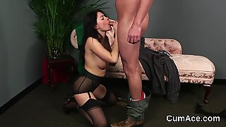 Wicked idol gets cumshot on her face swallowing all the semen
