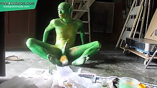 Green Demon Boy / Body Paint / 19 Years Old Extreme Fetish Cosplay #1