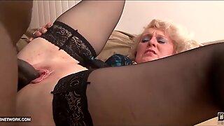 Black Cock Craving for Granny in Hardcore Interracial porno