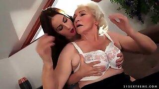 Sexy brunette loves busty hairy granny