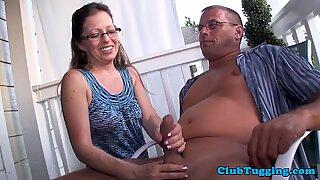 Spex mature jerking dick outdoors