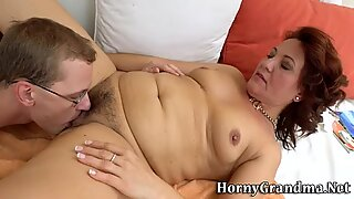 Tongued old redhead spits