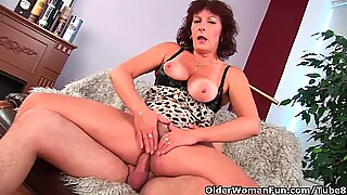 Grandma with hairy pussy sucks his pussy creamed cock