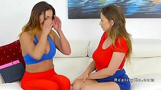 Asian lesbian stepmom licks busty teen